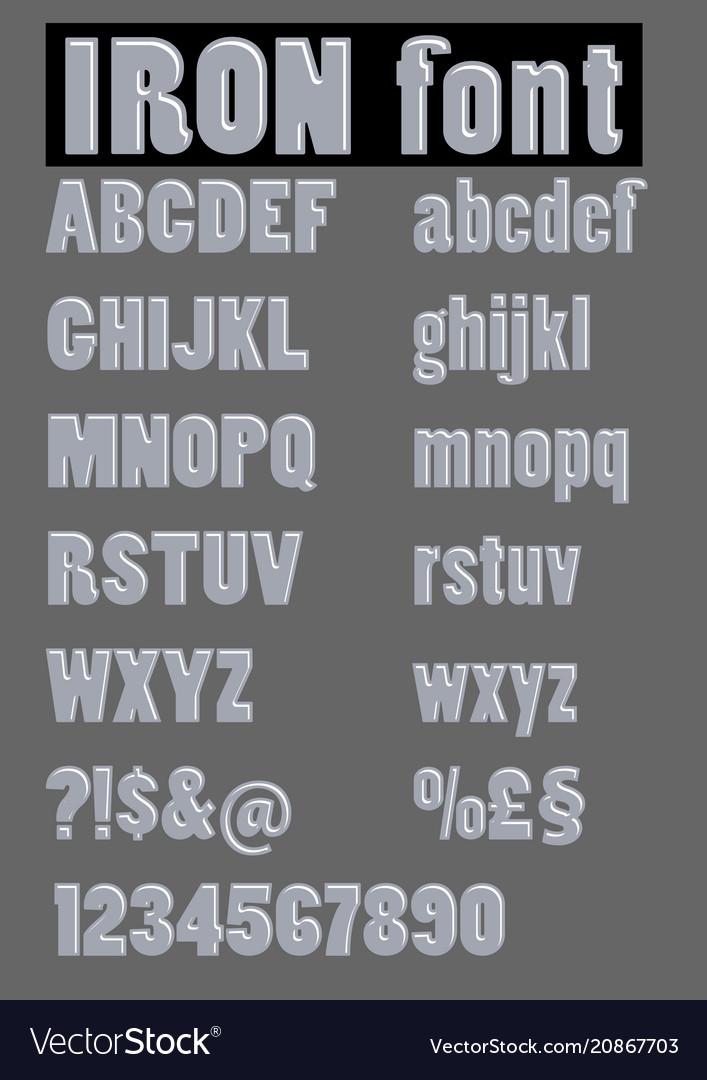 Alphabet set in embossed iron design metallic