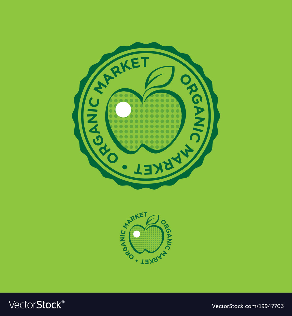 Apple organic market logo food emblem stamp