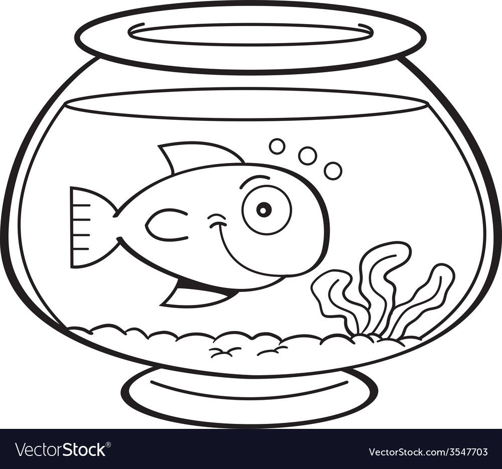 Cartoon goldfish bowl vector image