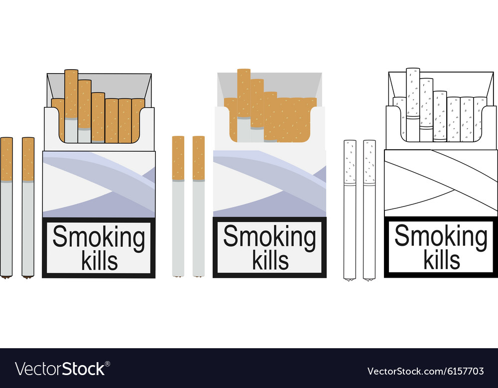 Cigarette pack icons Color no outline linea Vector Image