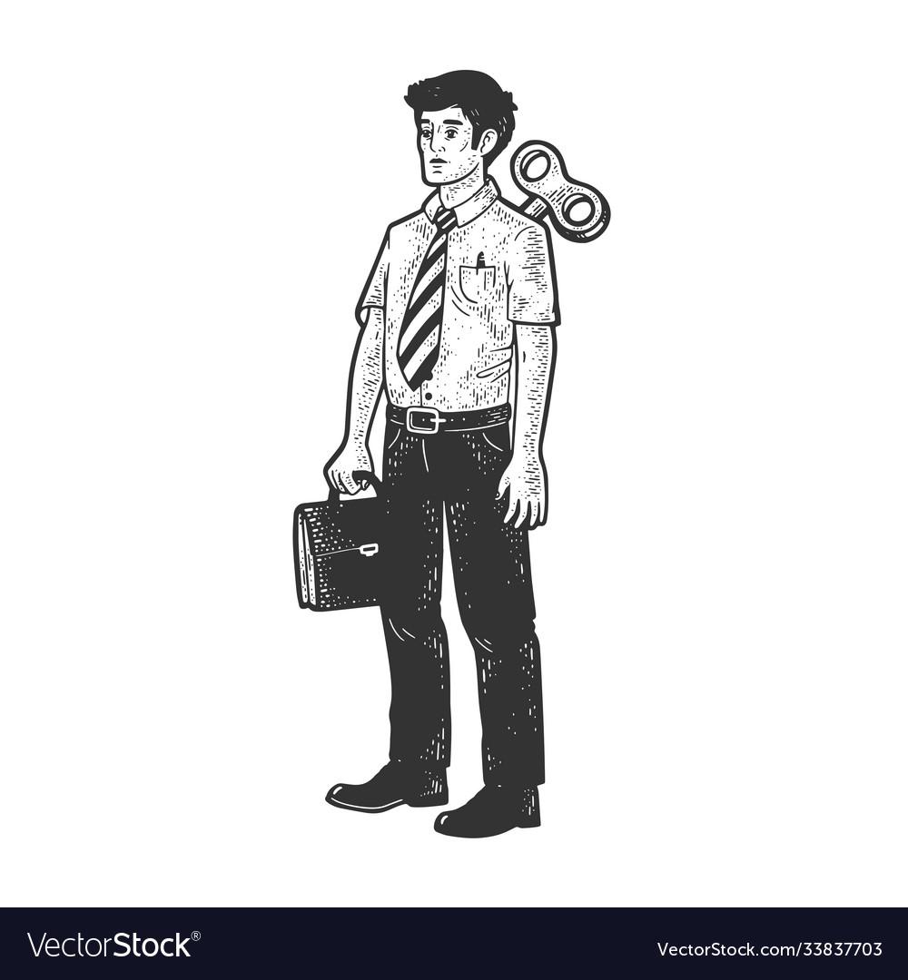 Clockwork office worker sketch