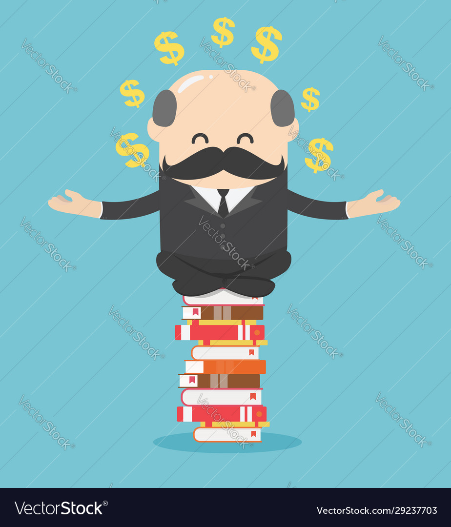 Concept cartoon business man who is mindful by