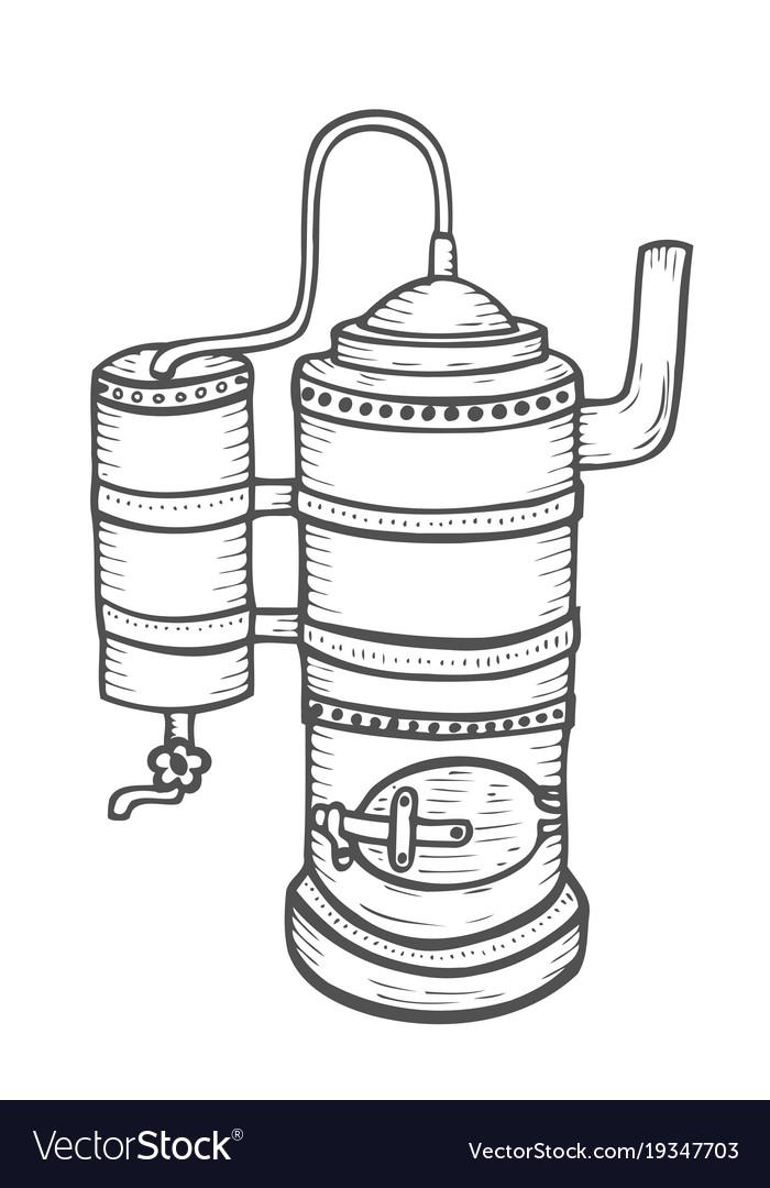 Distillation apparatus sketch vector image