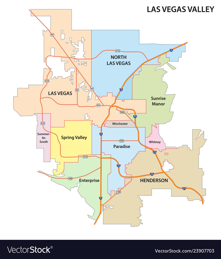 Las vegas valley road and administrative map