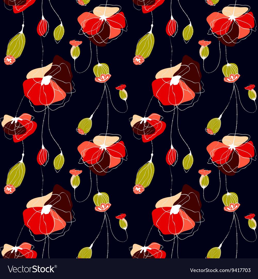 Poppy Flower Field Royalty Free Vector Image Vectorstock