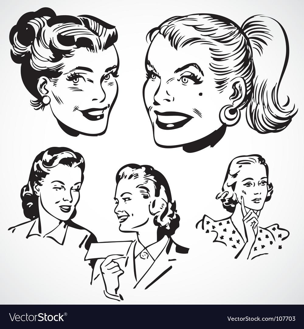 Retro women talking vector image