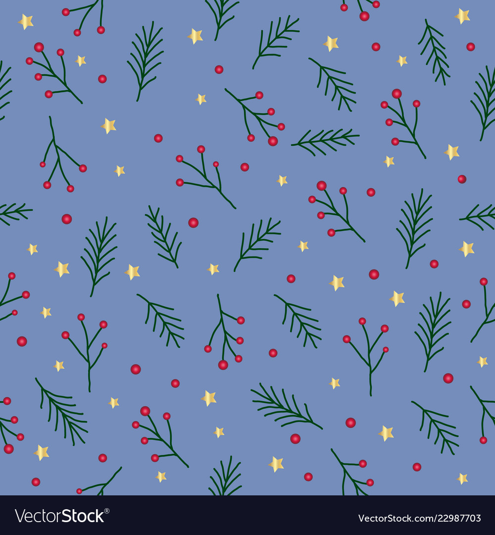 Seamless christmas pattern with green fir twigs
