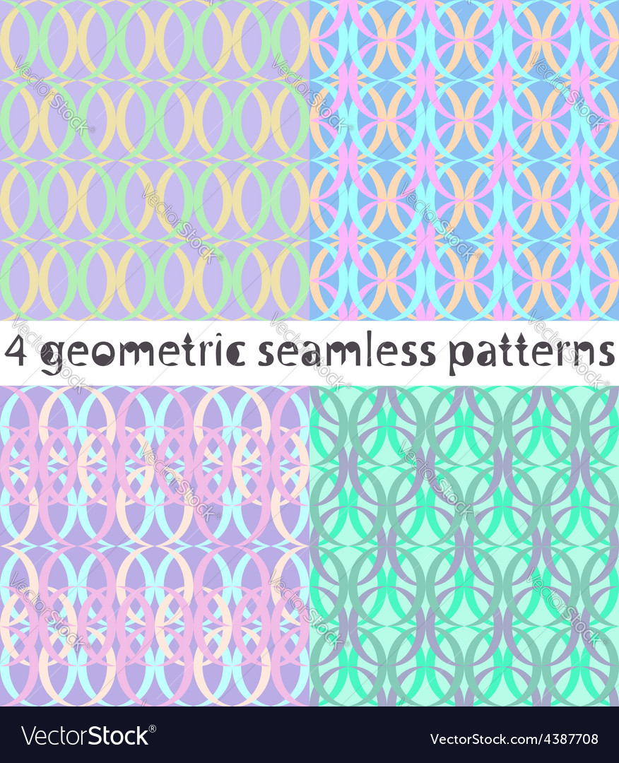 4 seamless geometric patterns in turquoise tones