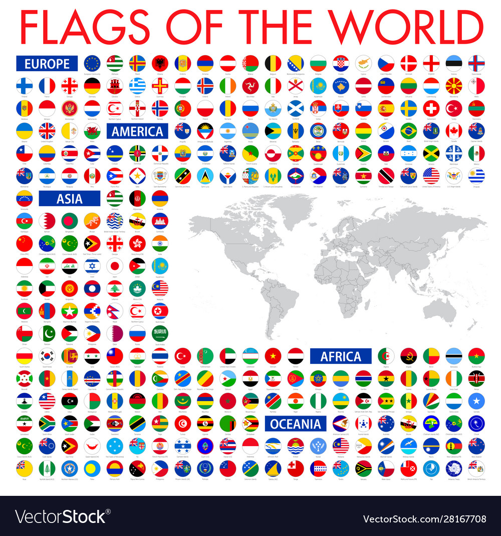 All official national flags world circular