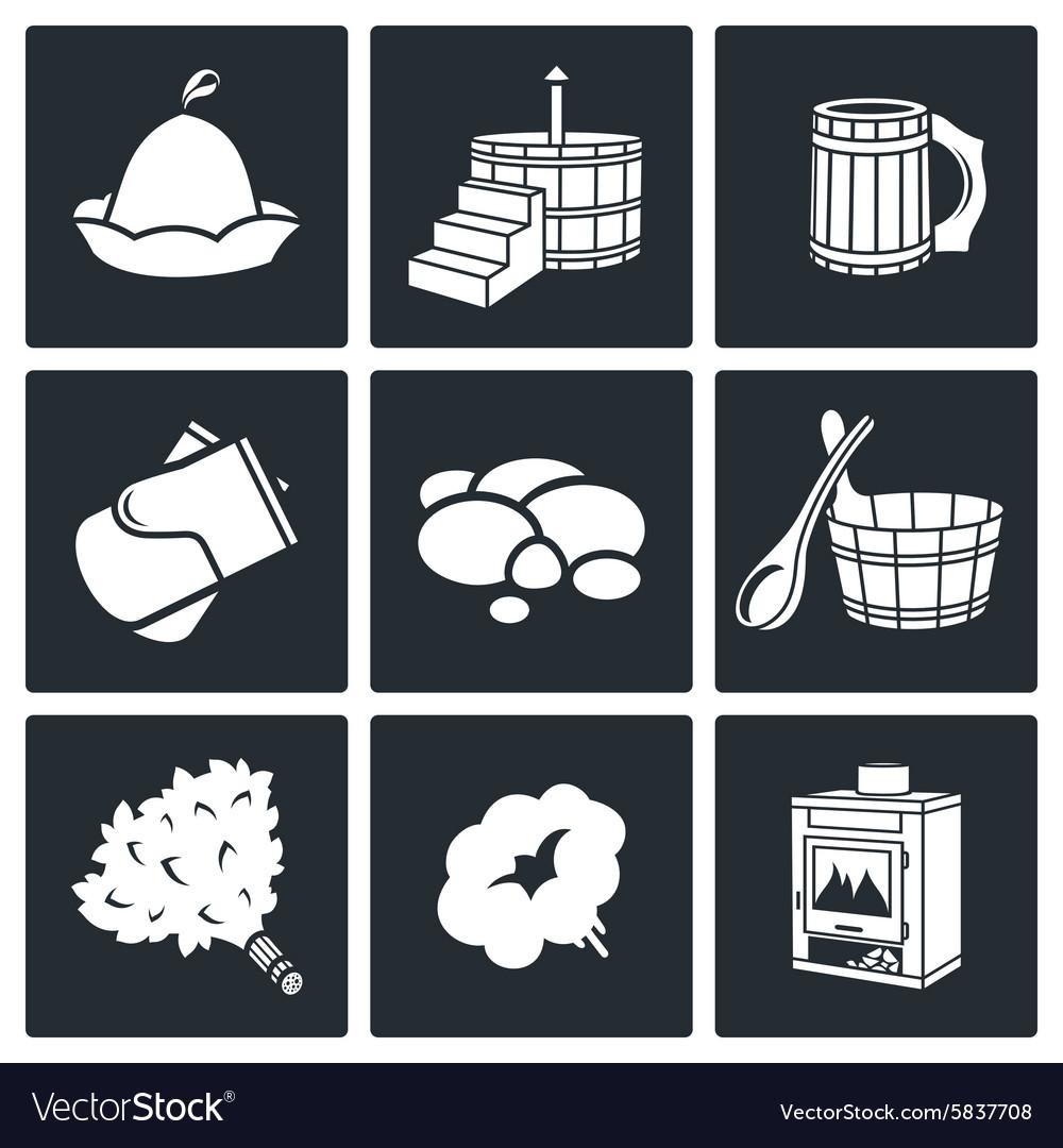 Bath and sauna Accessories Icons Set