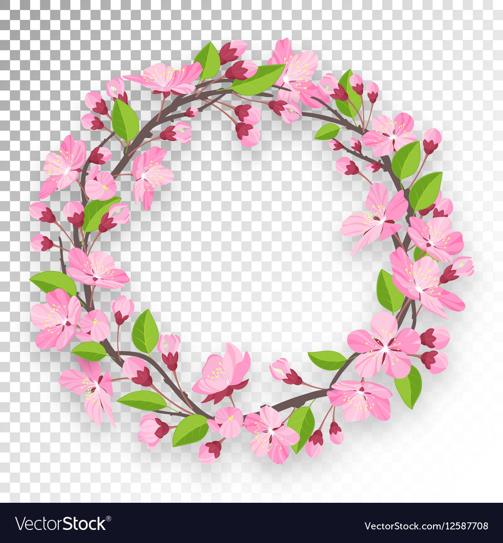 Blossoming cherry round frame for text Apple-tree