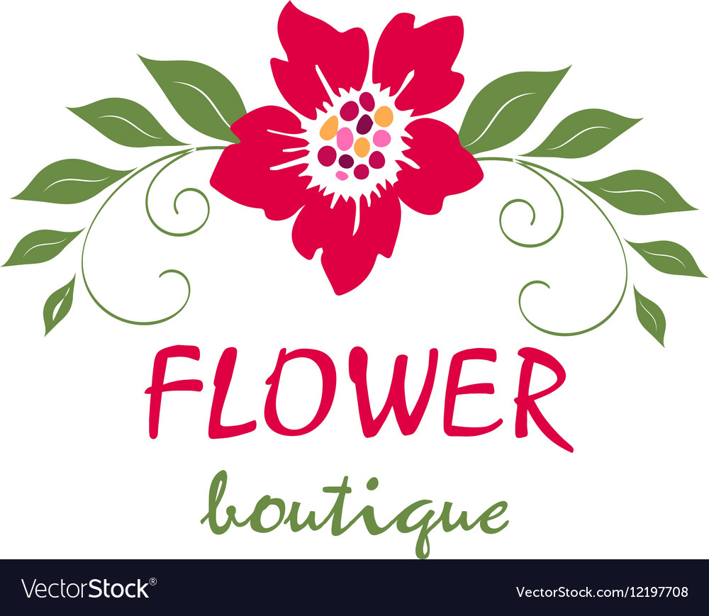 Bright logo for a flower shop bouquet wedding Vector Image