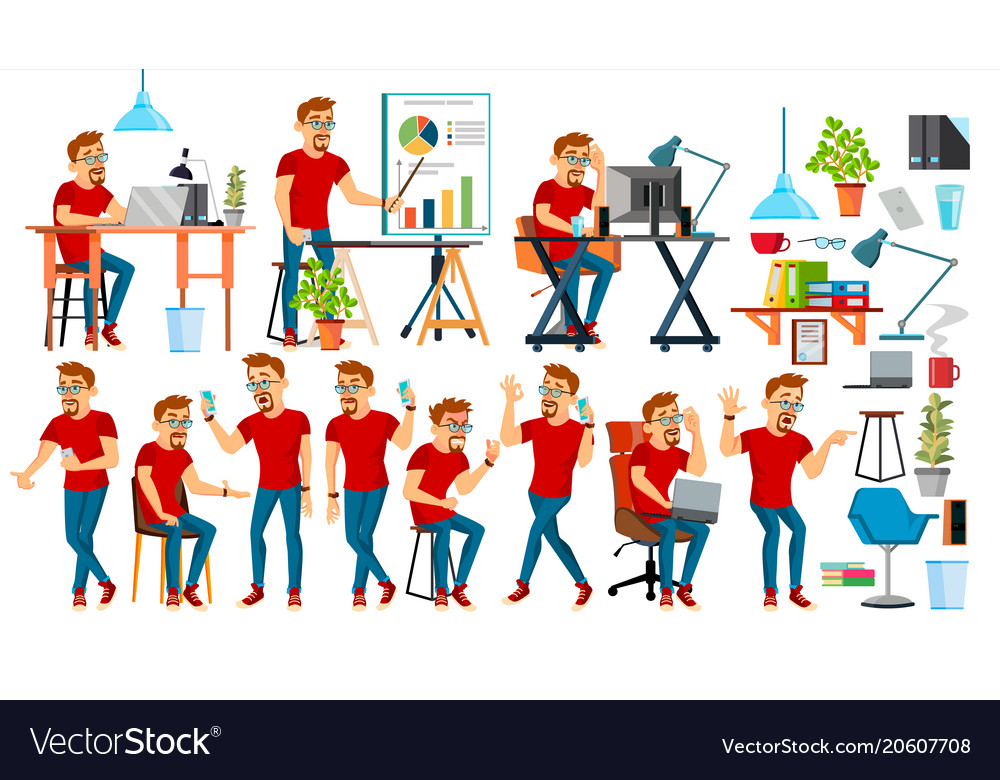 Business man character working people set