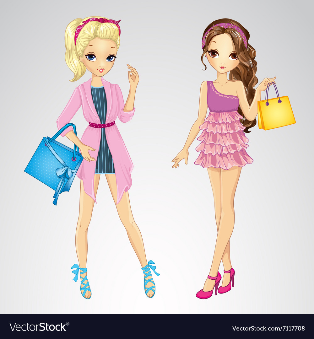 Couple Girls With Shopping Bags