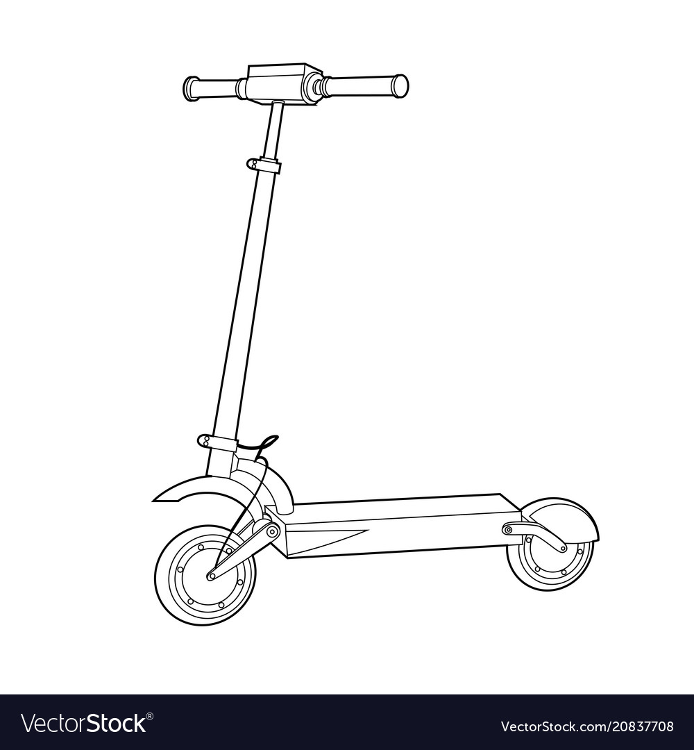 Electric Scooter Line Icon Wheel Scooter Vector Image