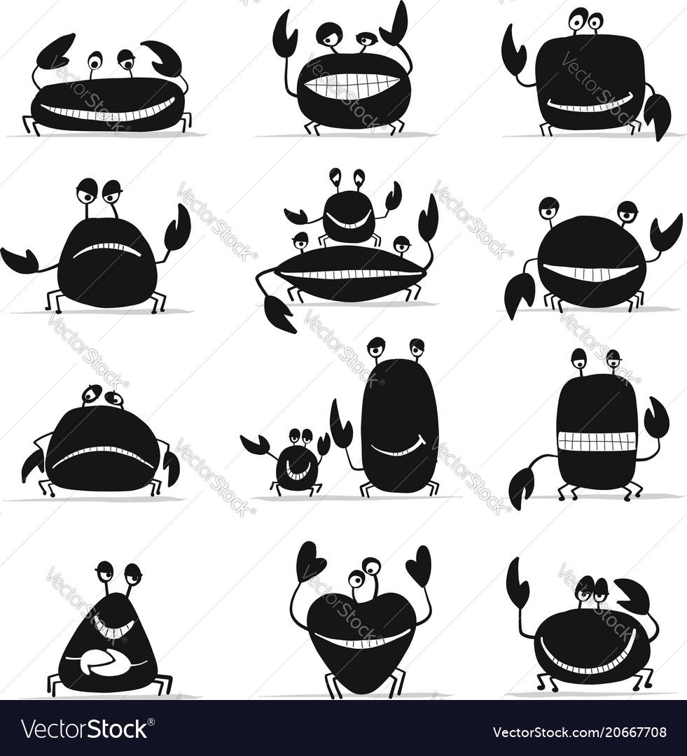 Funny crabs set sketch for your design