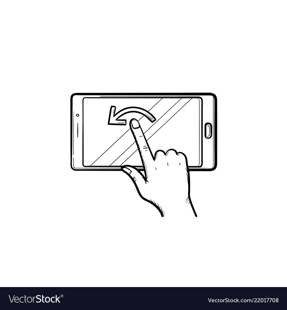 Hand touching smartphone screen hand drawn outline