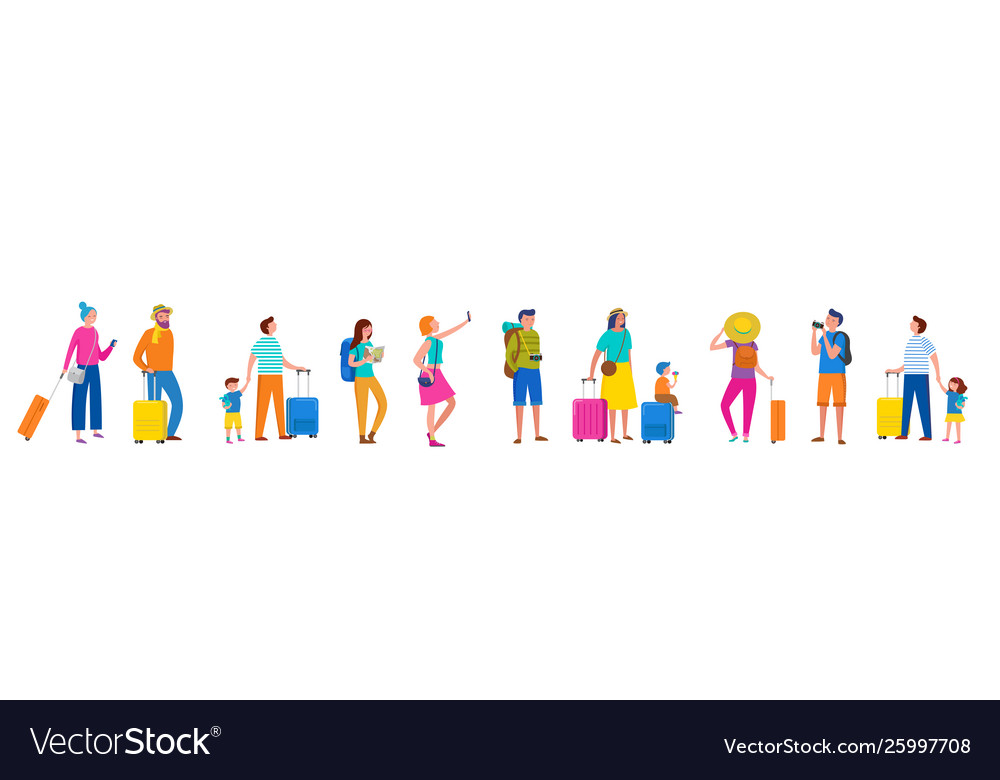 Line people couples and families with suitcase