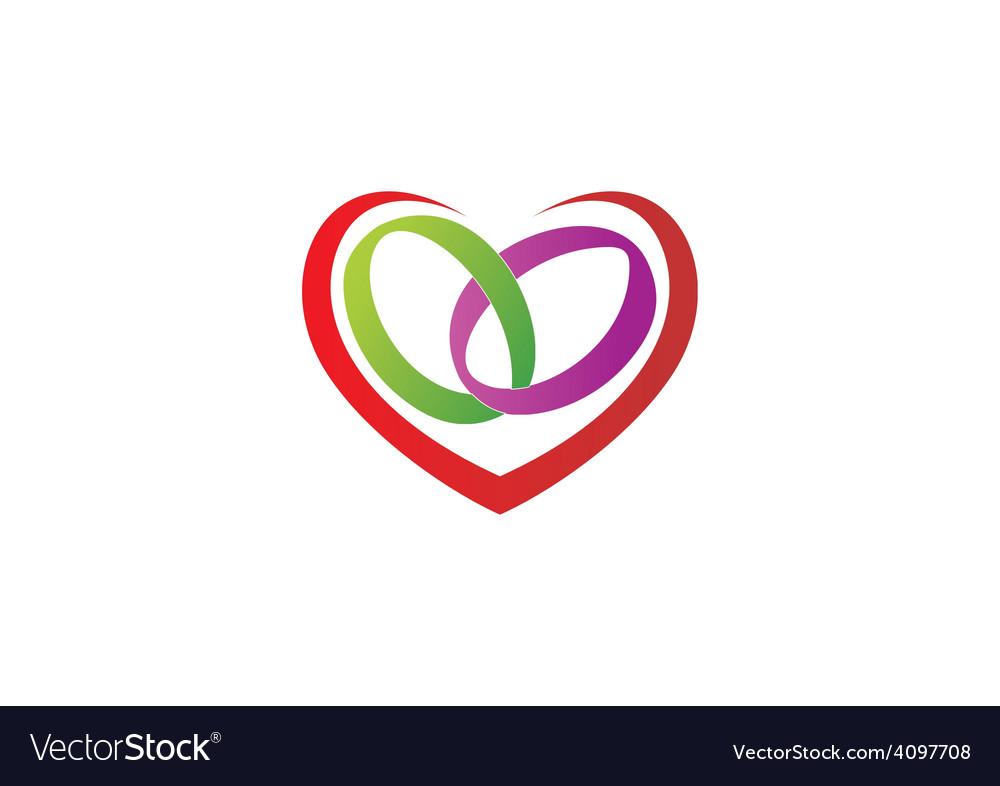 love heart ring wedding logo royalty free vector image rh vectorstock com Hearts Wedding Clip Art wedding heart cookie images