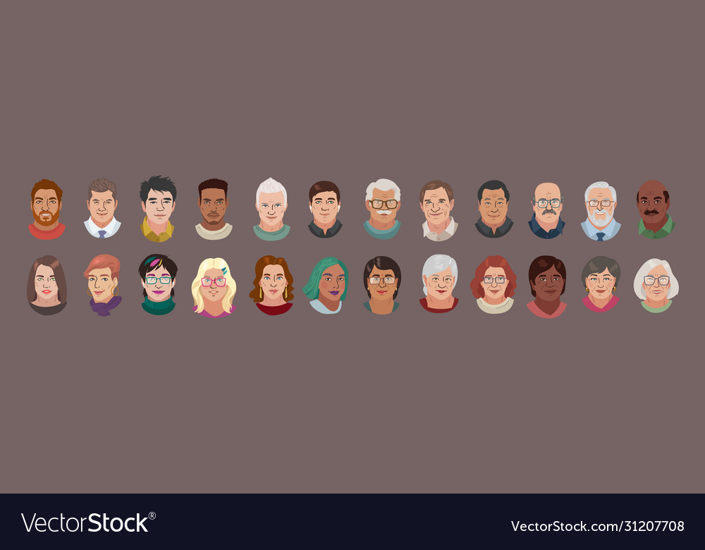 People head avatar set different smile characters