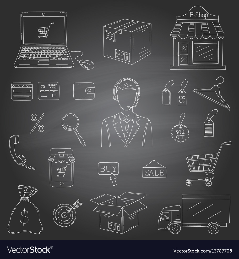 Set hand drawn e-commerce icons set vector