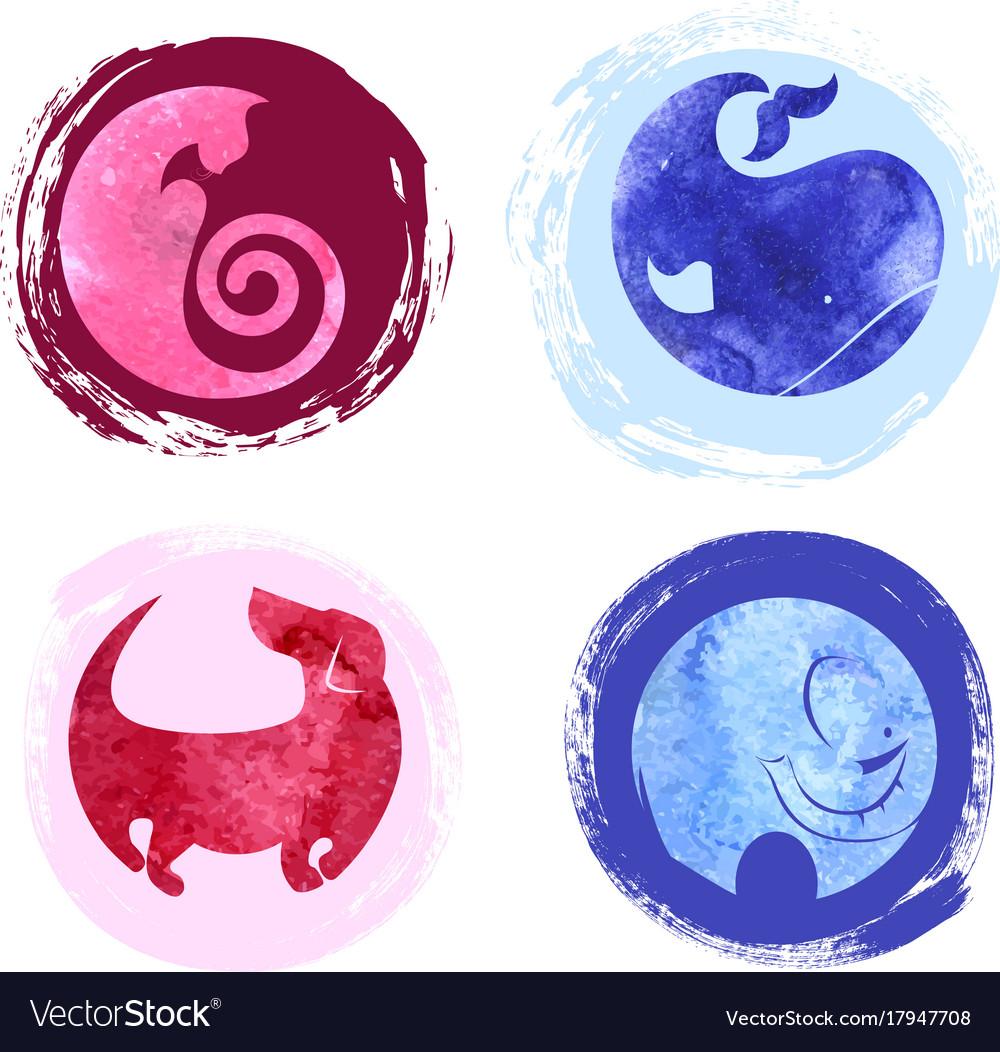 Set of four silhouettes animals