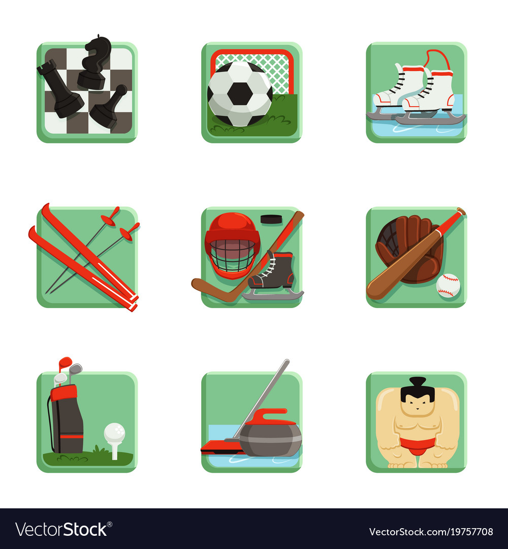 Sport icons set chess baseball football hockey