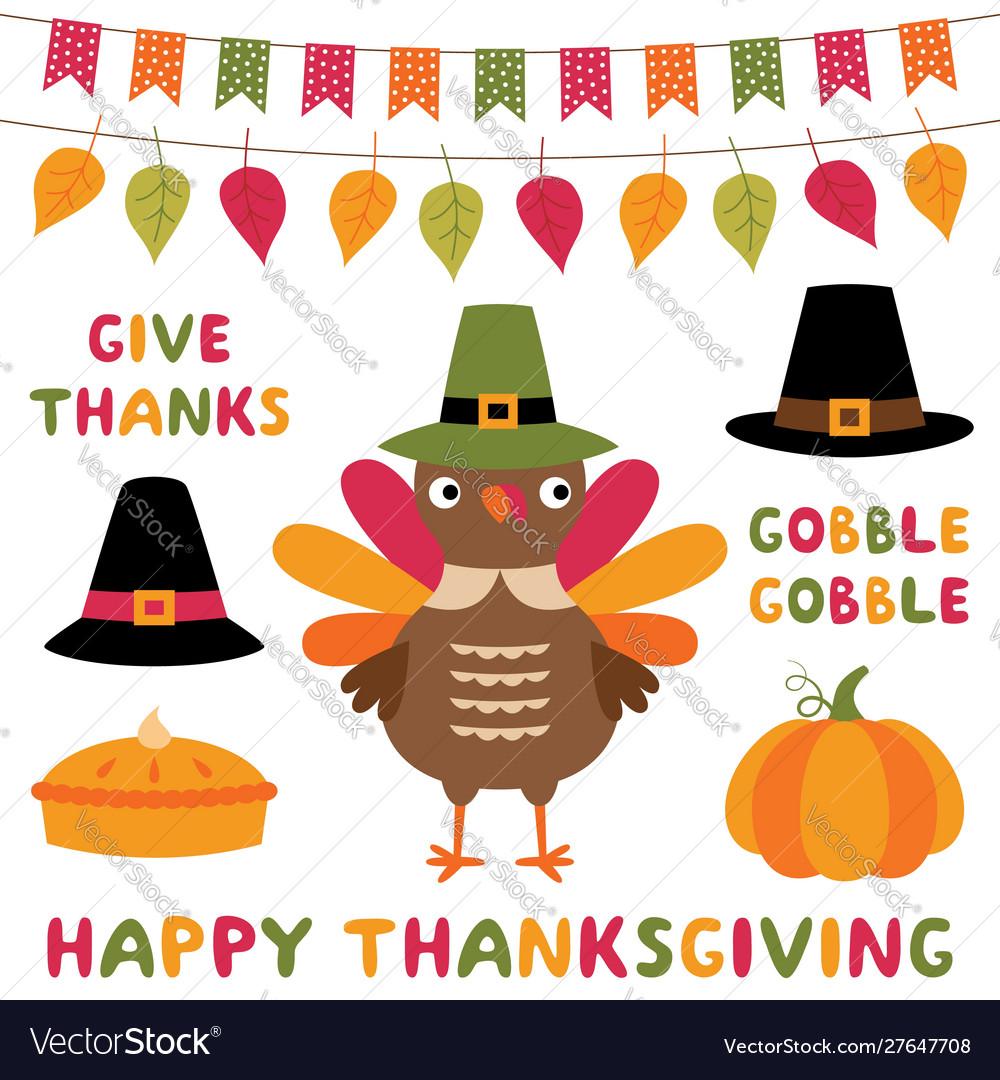 Thanksgiving symbols cartoon set - a turkey hats