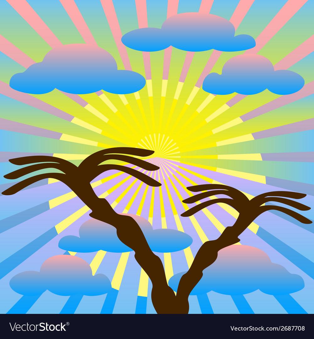 Two palm trees against the sky sun sun rays