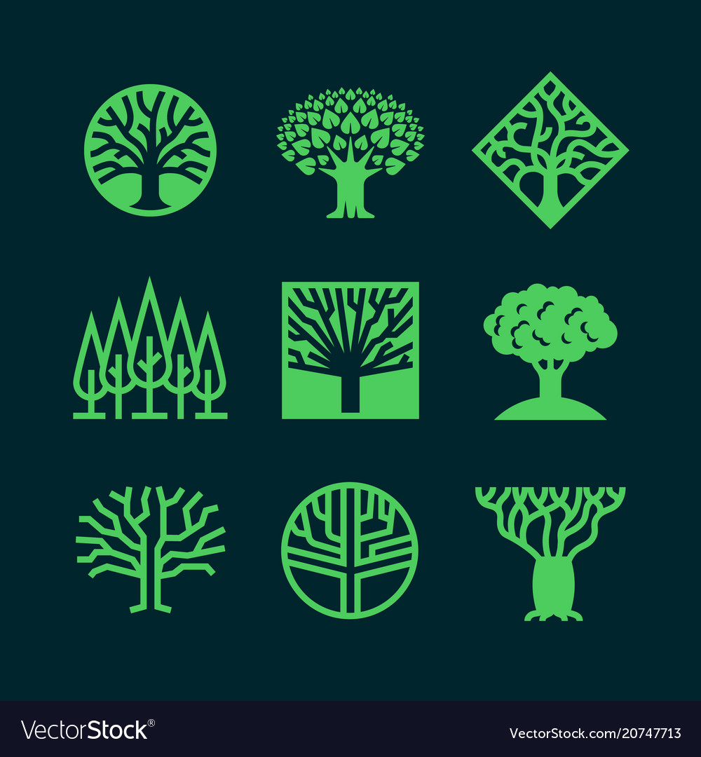 Abstract green tree logos creative eco forest