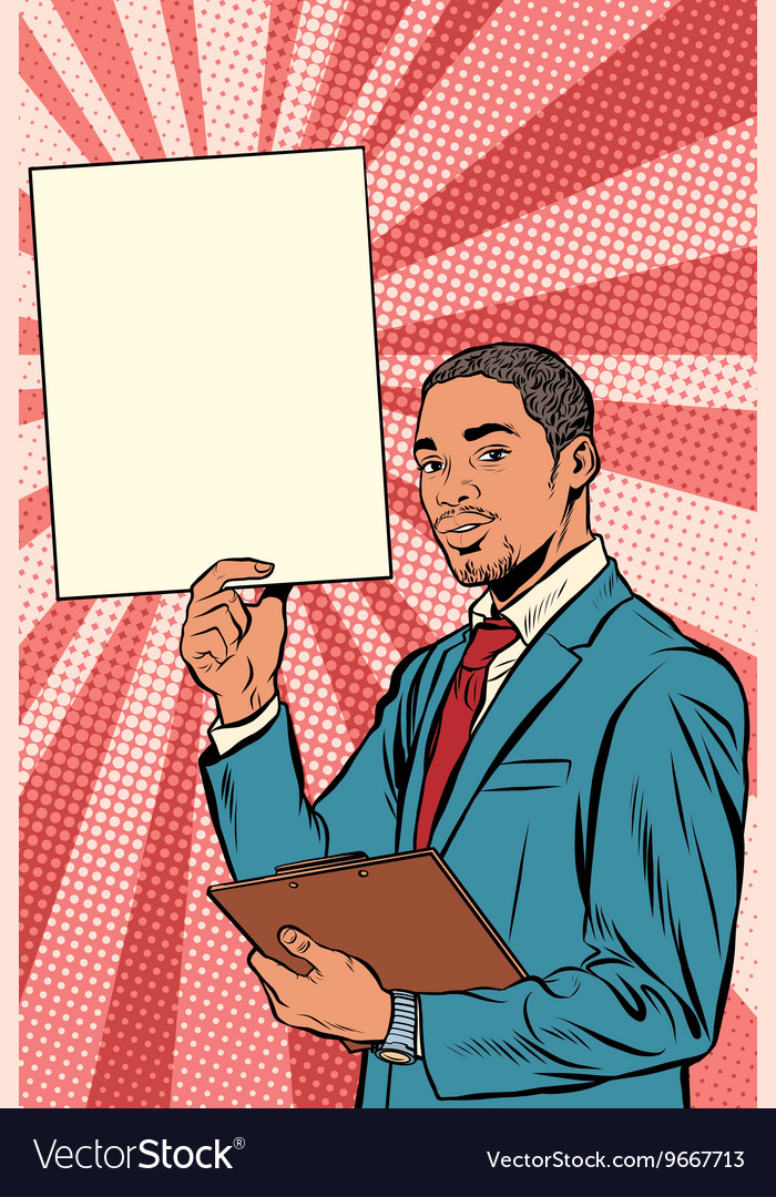 Businessman with advertising poster African