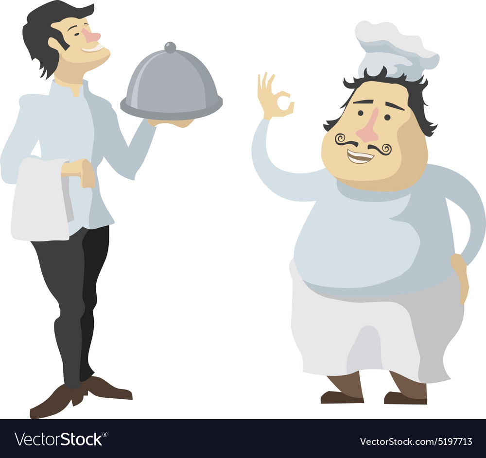 Characters cook and waiter isolated on white vector image