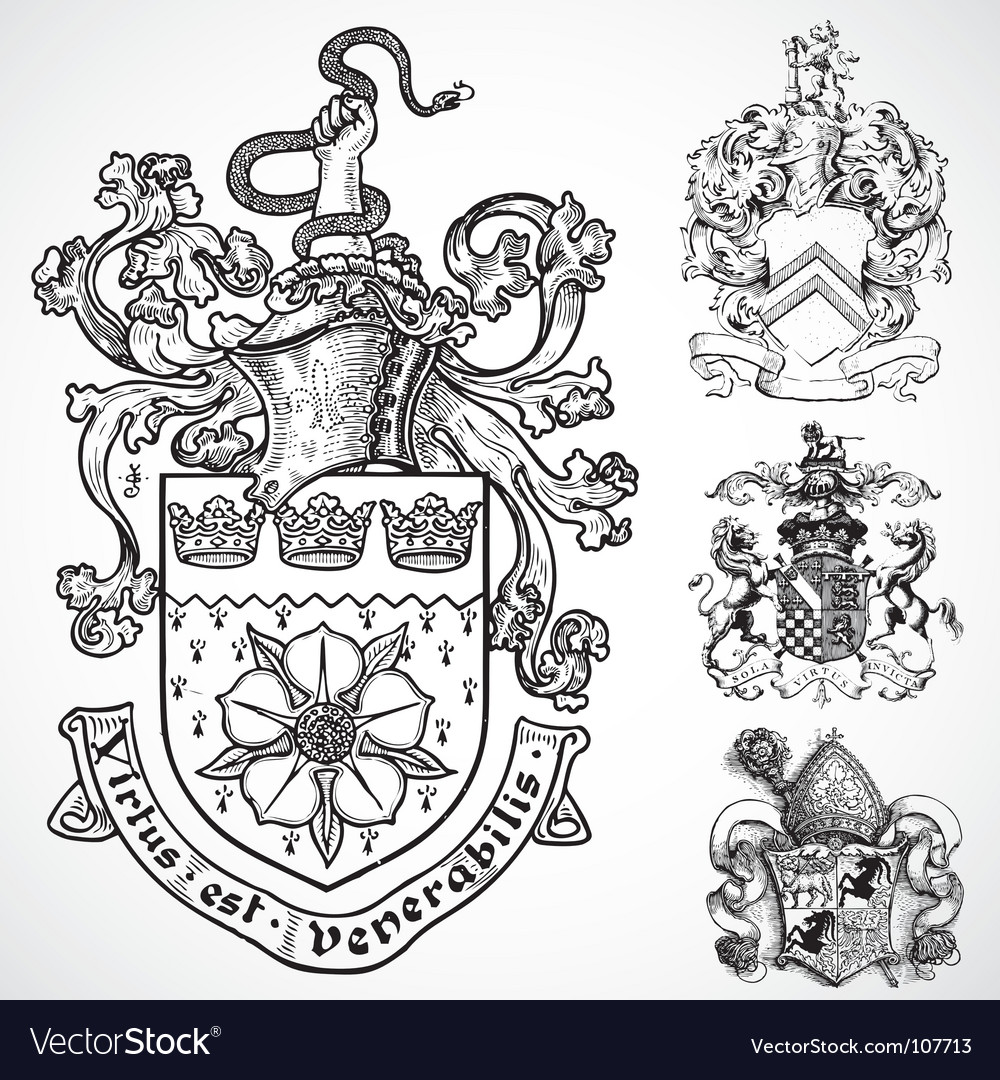 Coat Of Arms Shield Ornaments Royalty Free Vector Image