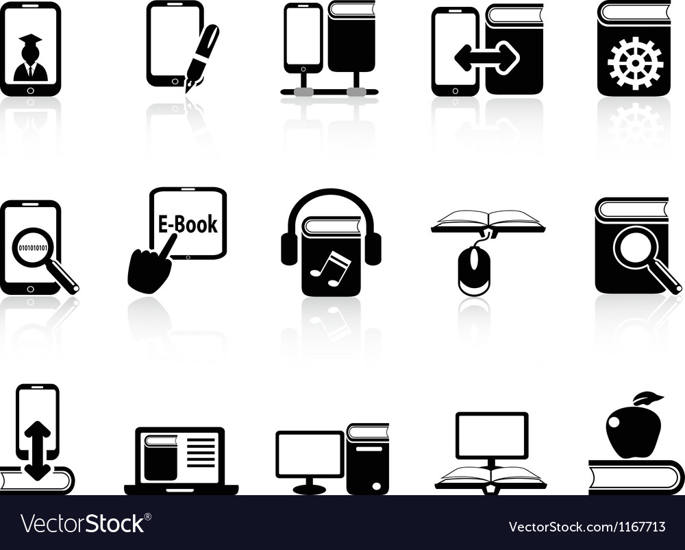 Digital books and e-books icons vector image