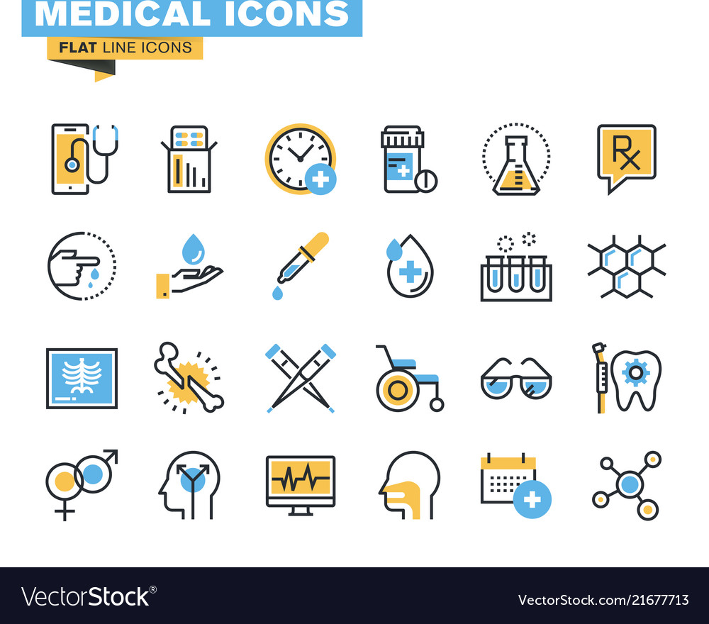 Flat line colorful medical icons collection