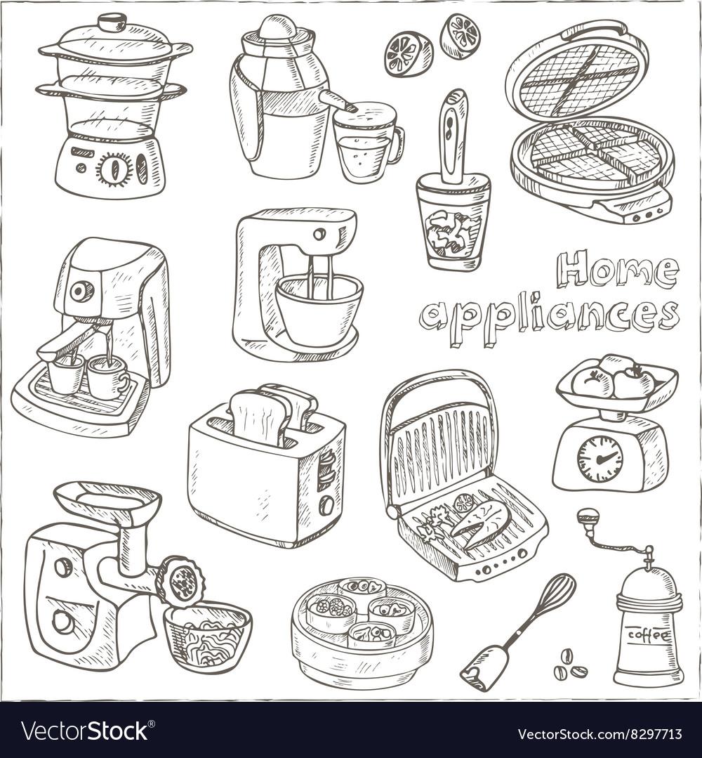 Home appliances themed doodle set Sketches