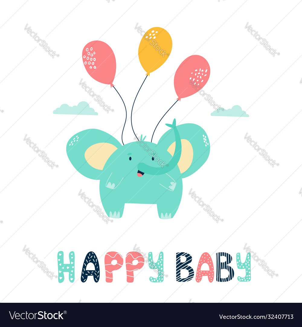 Little cute elephant flying with balloons