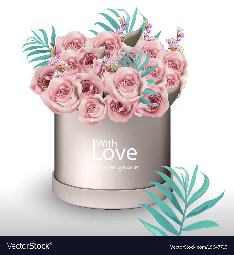 lovely roses flowers bouquet realistic royalty free vector