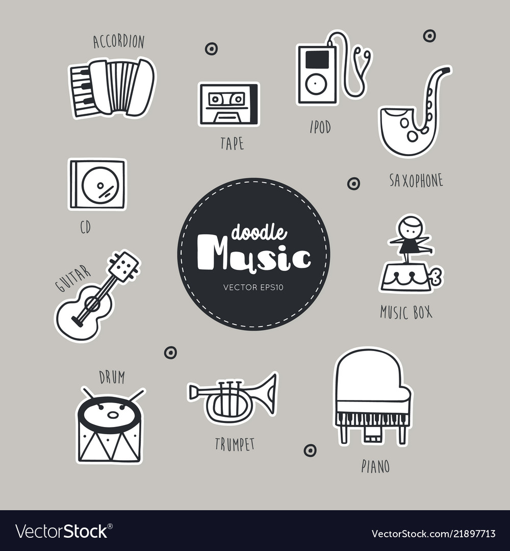 Music hand drawn doodle icons set