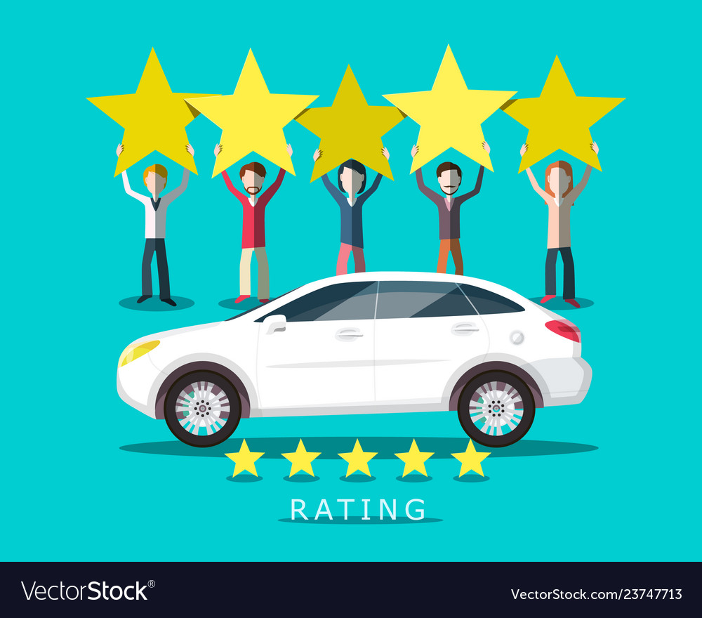 New car rating with people holding five stars