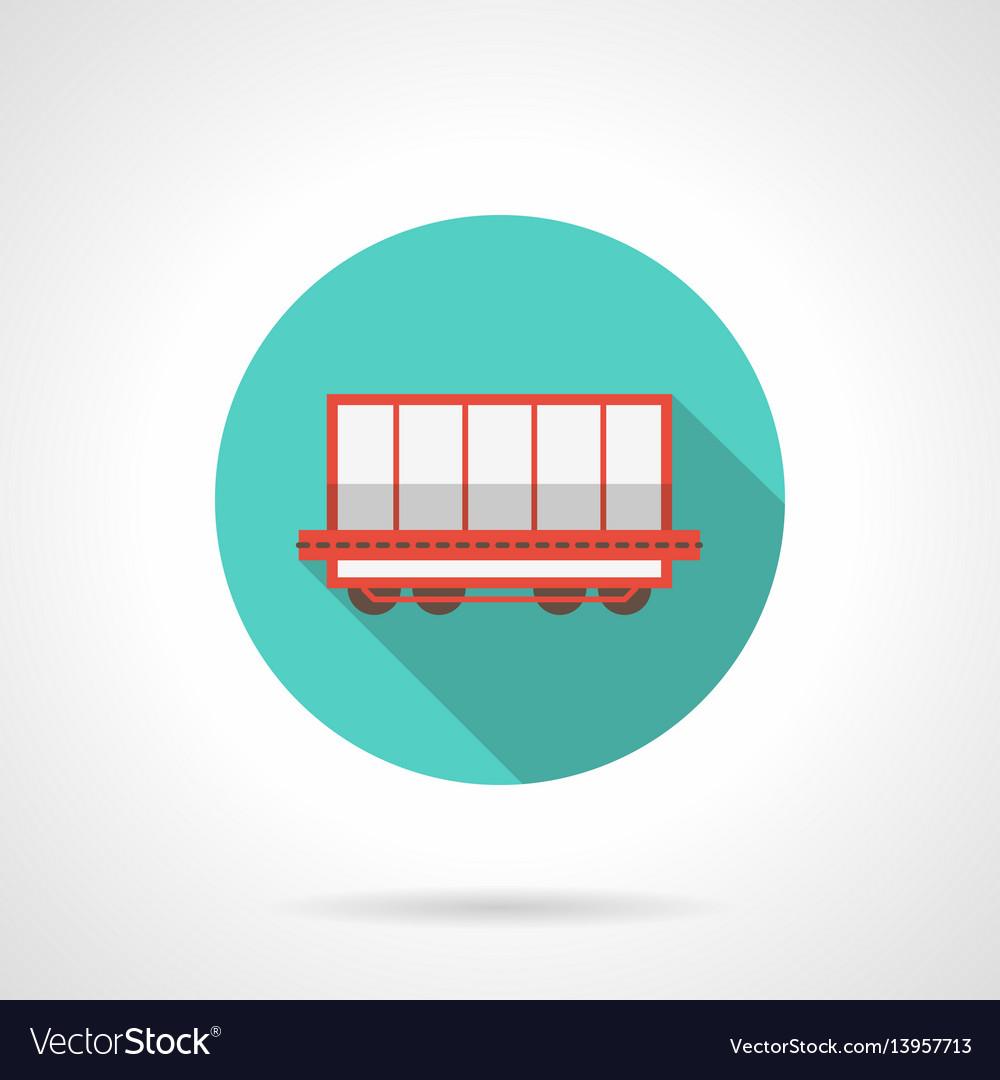 Open boxcar blue round icon