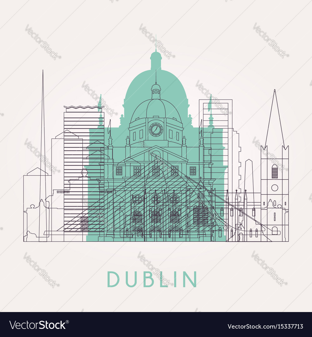 Outline dublin skyline with landmarks