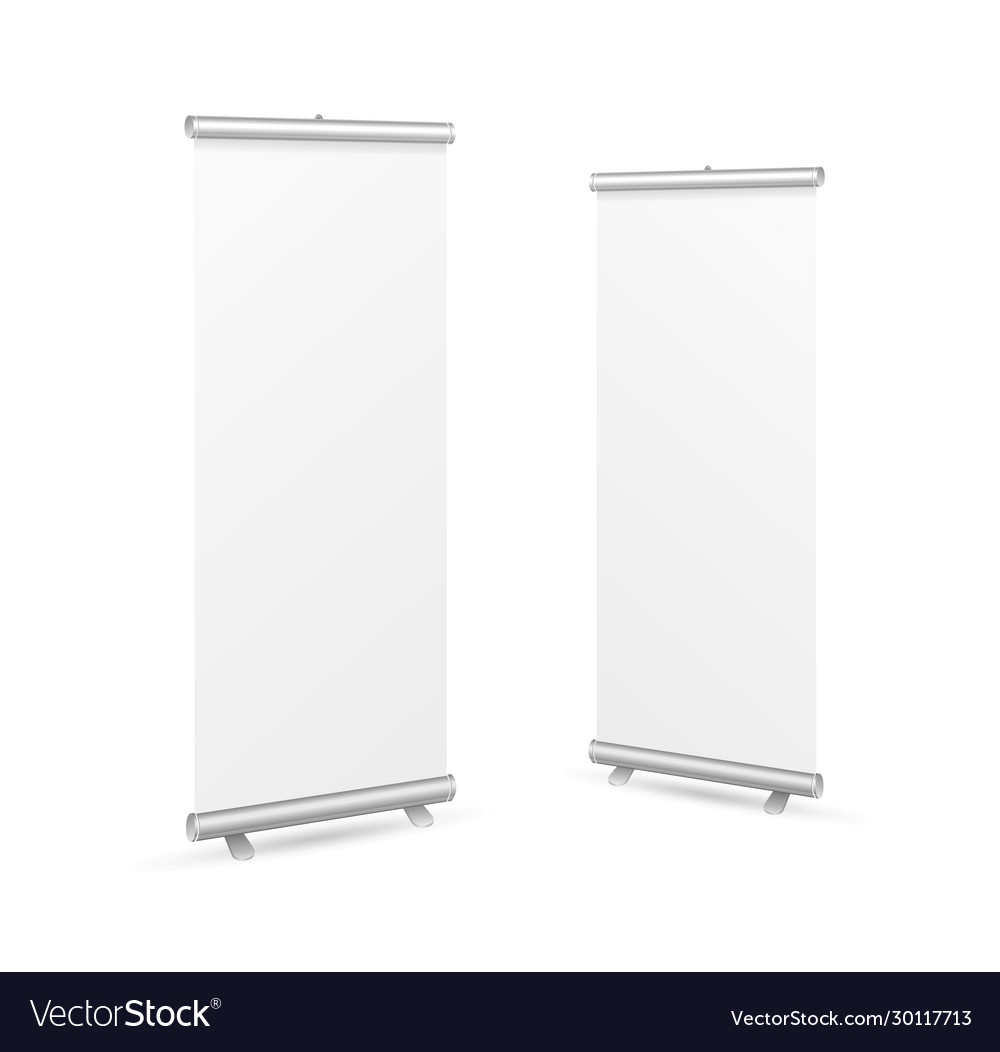 Realistic detailed 3d white blank roll up banner