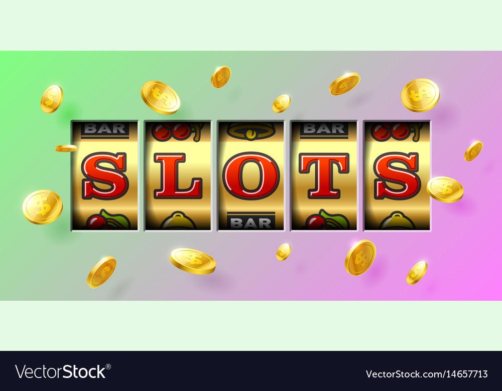 Slot machine gambling game casino banner vector image