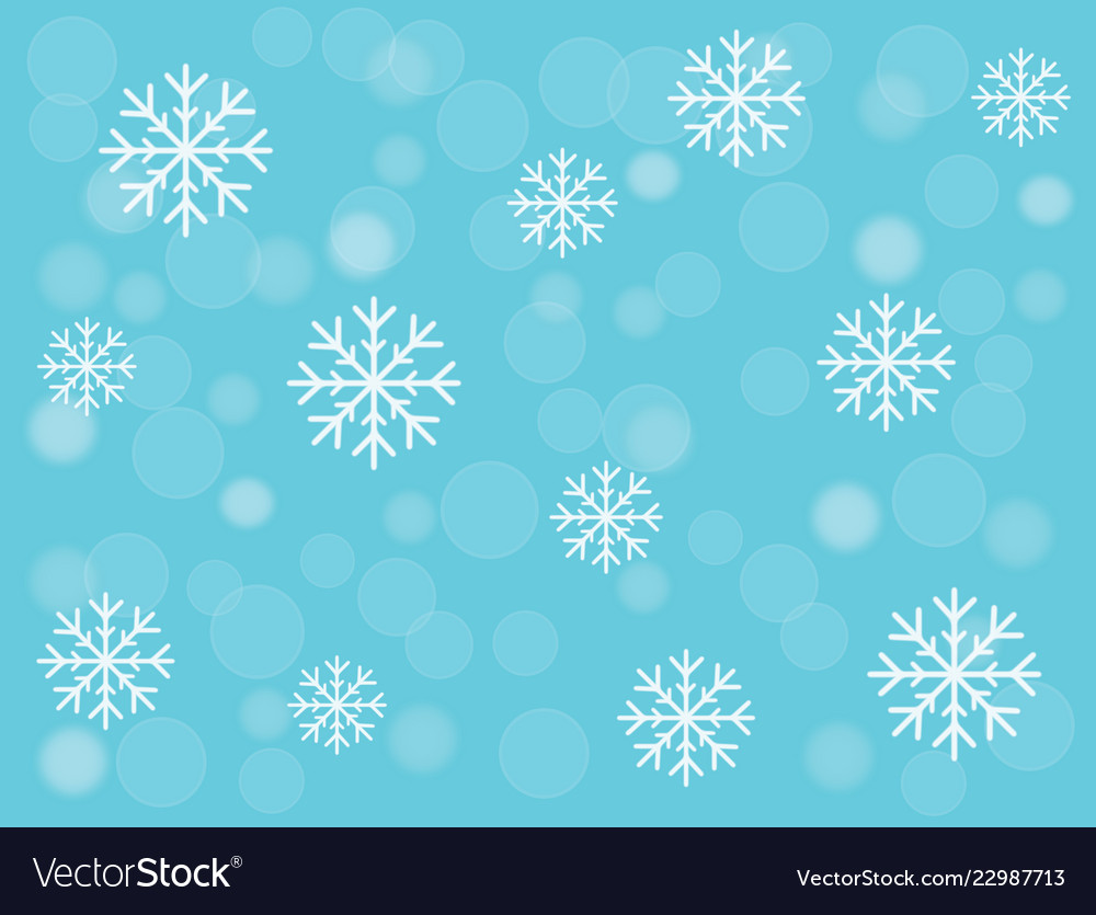 Snowflakes and snowball on turquoise blue