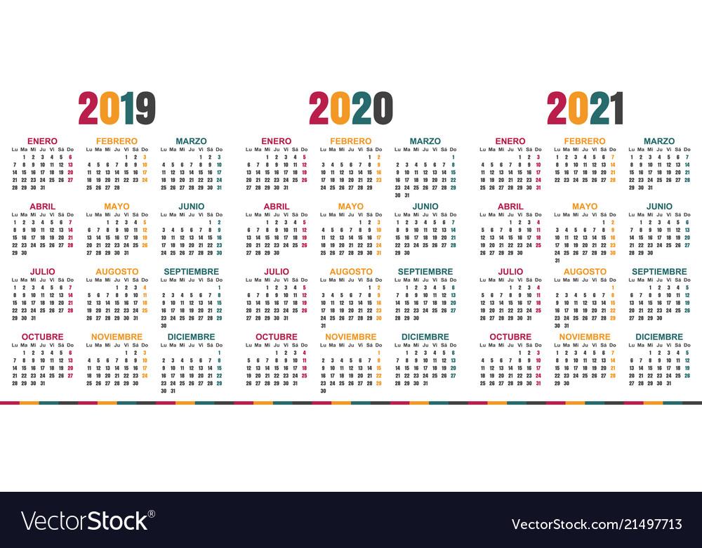 Spanish calendar 2019 - 2021