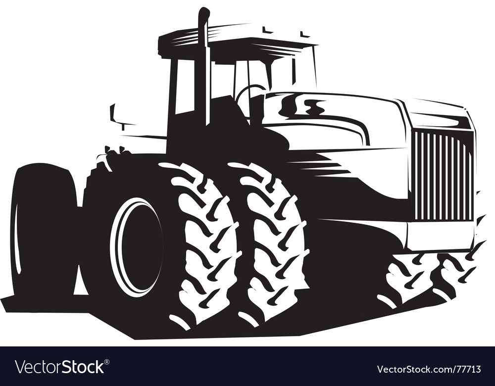 Wheeled tractor vector image