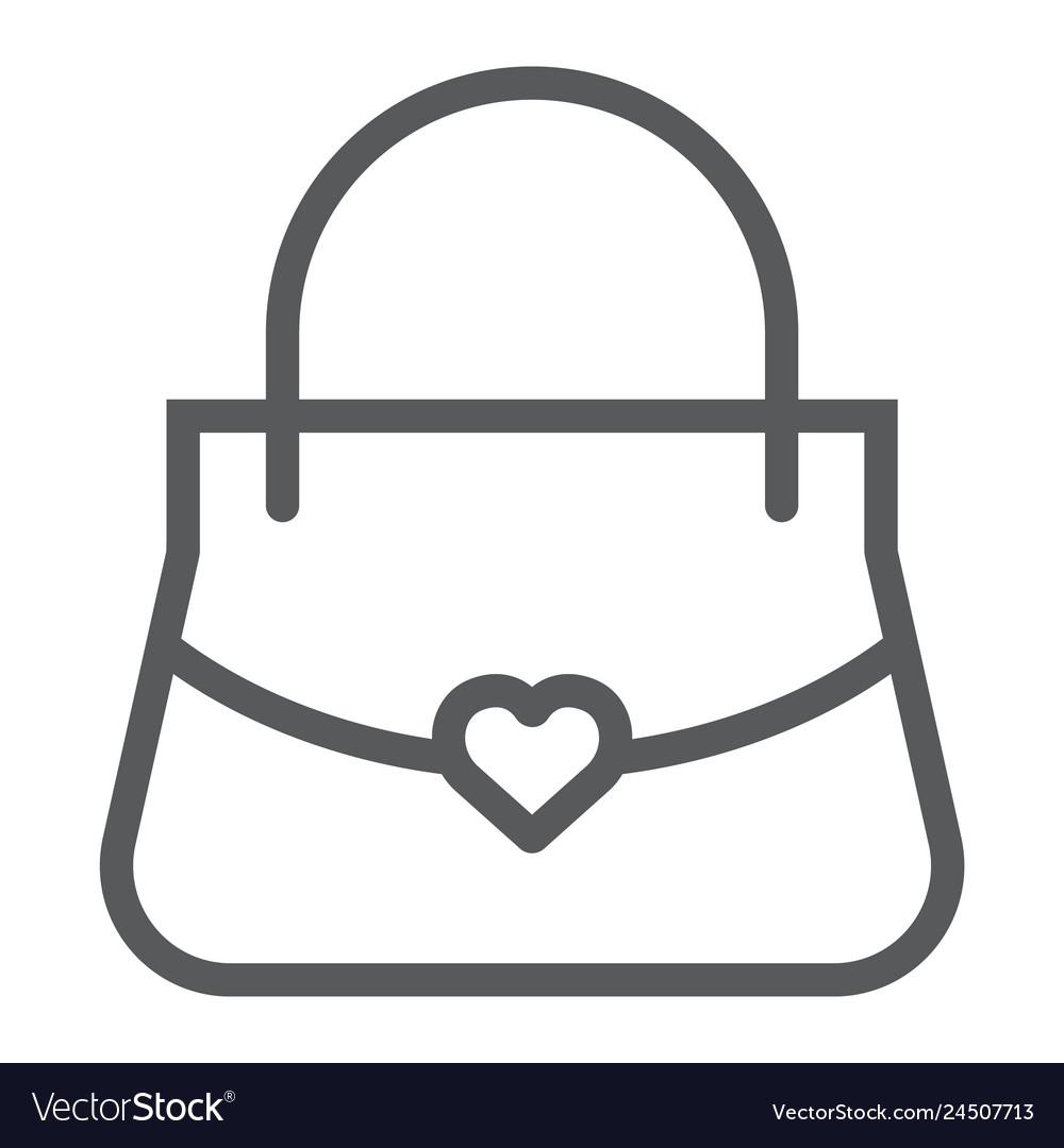 Women bag line icon girl and purse handbag sign