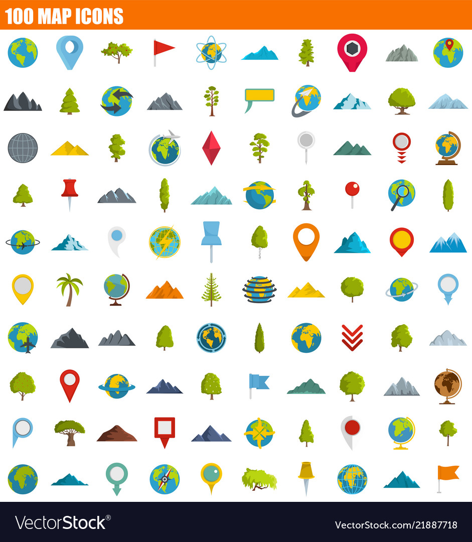 100 map icon set flat style