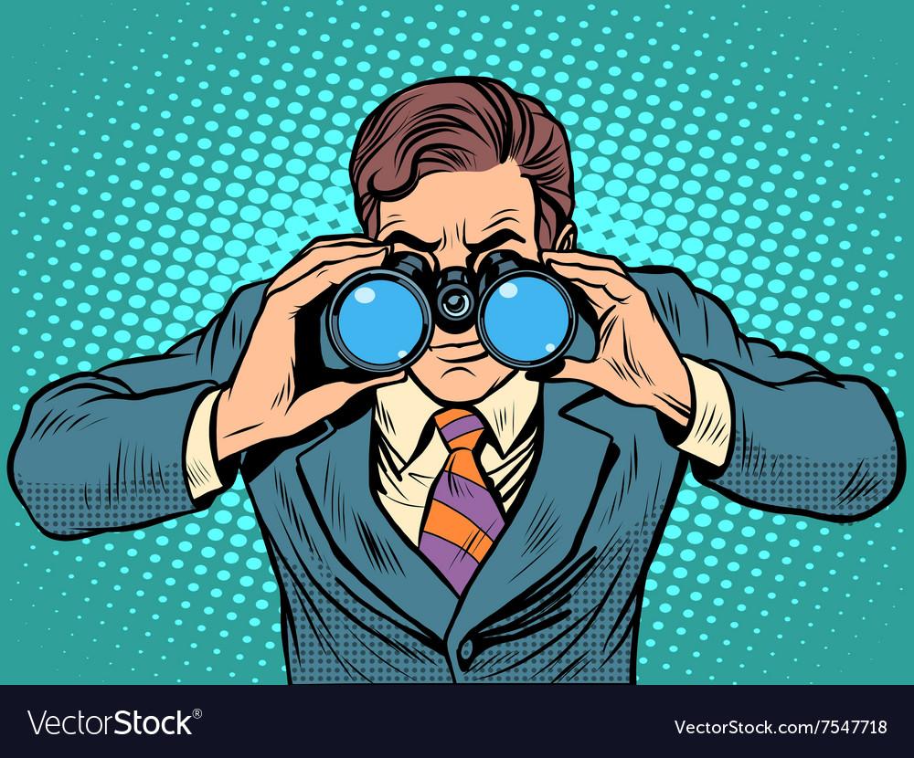Businessman looking through binoculars Lead